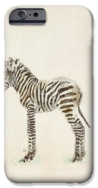 Zebra Digital iPhone Cases - Little Zebra iPhone Case by Bri Buckley