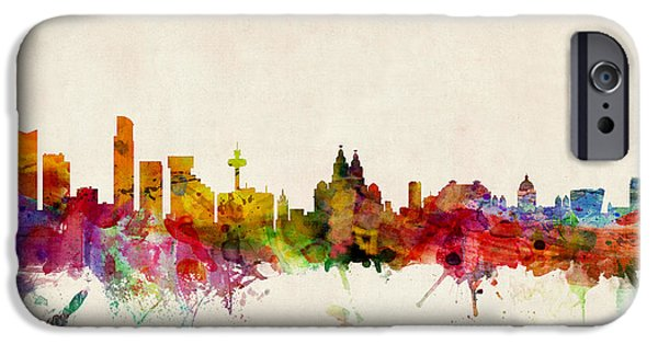 Britain iPhone Cases - Liverpool England Skyline iPhone Case by Michael Tompsett