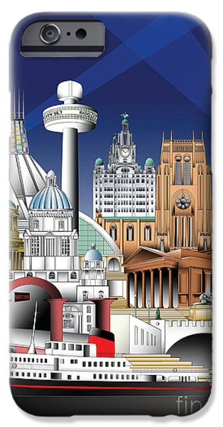Montage Drawings iPhone Cases - Liverpool iPhone Case by Roy Isaacs