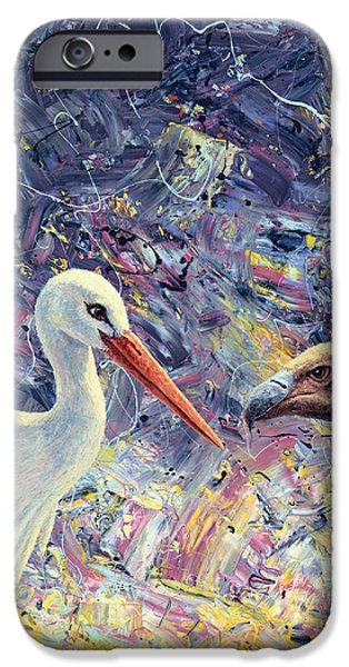 Life Paintings iPhone Cases - Living Between Beaks iPhone Case by James W Johnson