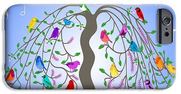 Cartoon Birds iPhone Cases - Living In Harmony iPhone Case by Methune Hively
