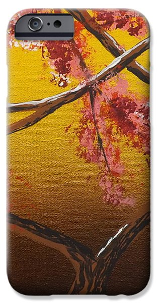 Burnt Umber iPhone Cases - Living Loving Tree bottom center iPhone Case by Darren Robinson