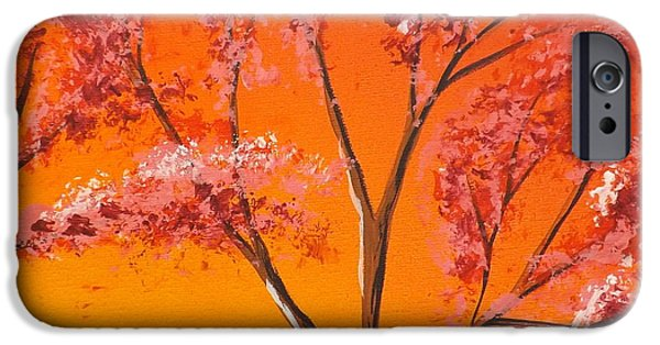 Burnt Umber iPhone Cases - Living Loving Tree top right iPhone Case by Darren Robinson