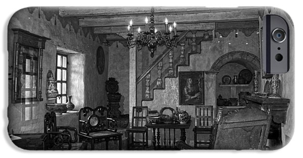 Bookcase iPhone Cases - Living room in Carmel Mission iPhone Case by RicardMN Photography