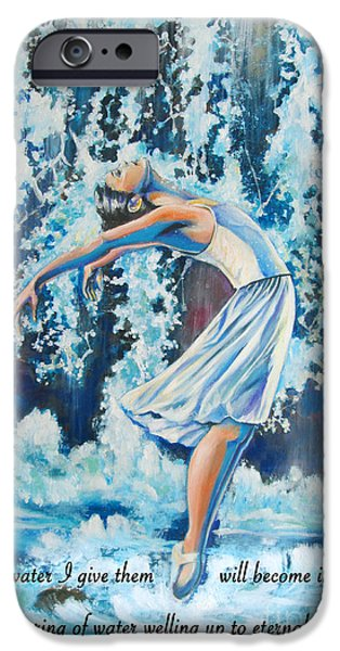 Ballet Drawings iPhone Cases - Living Water scripture iPhone Case by Tamer and Cindy Elsharouni