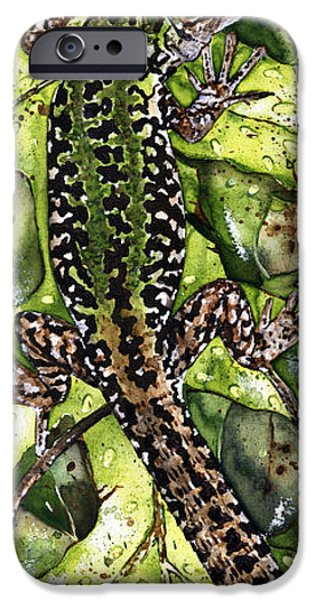 Animal Drawings iPhone Cases - LIZARD in GREEN NATURE - Elena Yakubovich iPhone Case by Elena Yakubovich