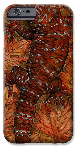 Animal Drawings iPhone Cases - LIZARD in RED NATURE - Elena Yakubovich iPhone Case by Elena Yakubovich