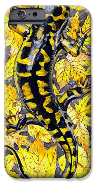 Animal Drawings iPhone Cases - LIZARD in YELLOW NATURE - Elena Yakubovich iPhone Case by Elena Yakubovich