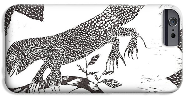 Lino Cut Drawings iPhone Cases - Lizard iPhone Case by Keiskamma art project