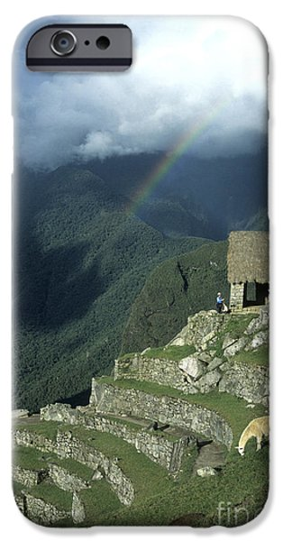 Historic Ruins iPhone Cases - Llama and rainbow at Machu Picchu iPhone Case by James Brunker