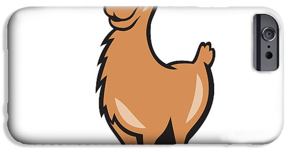Llama Digital iPhone Cases - Llama Cartoon iPhone Case by Aloysius Patrimonio