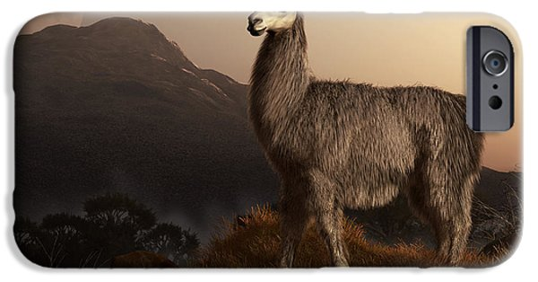 Llama Digital iPhone Cases - Llama Dawn iPhone Case by Daniel Eskridge
