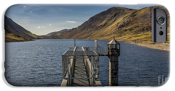 Walkway Digital Art iPhone Cases - Llyn Cowlyd Reservoir iPhone Case by Adrian Evans