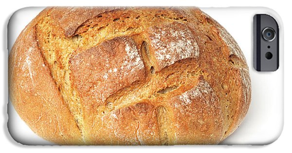 Loaf Of Bread iPhone Cases - Loaf of bread on white iPhone Case by Matthias Hauser