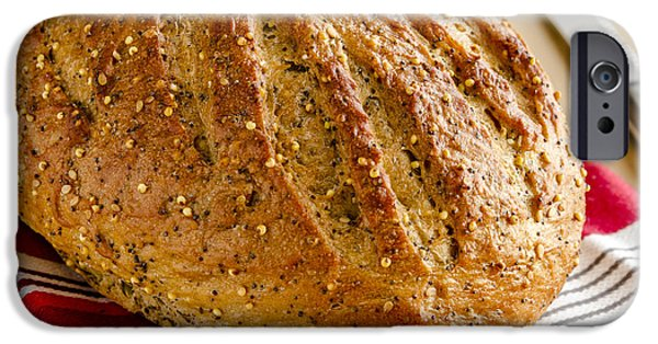Loaf Of Bread iPhone Cases - Loaf of Whole Grains and Seeded Bread iPhone Case by Teri Virbickis