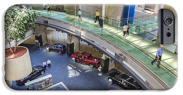 Renaissance Center iPhone Cases - Lobby and walkway of Renaissance Center  iPhone Case by John McGraw