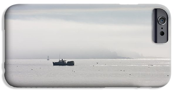 Maine iPhone Cases - Lobster Boat - Fog - Cranberry Island - Maine iPhone Case by Keith Webber Jr