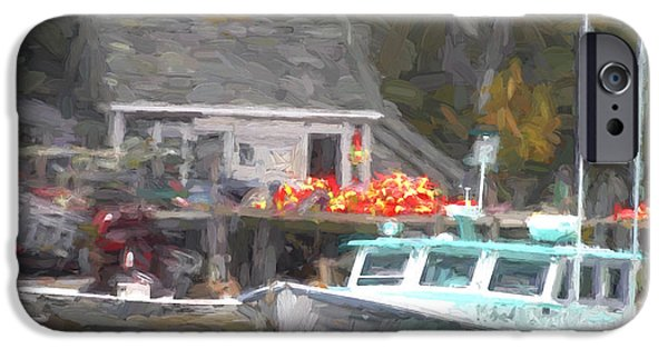 Down East iPhone Cases - Lobster Boat New Harbor Maine Painterly Effect iPhone Case by Carol Leigh