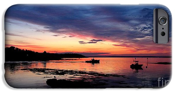 Garrison Cove iPhone Cases - Lobster Boat Sunrise 2 iPhone Case by Donnie Freeman