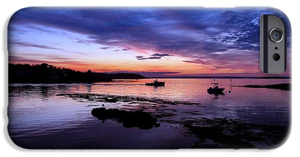 Garrison Cove iPhone Cases - Lobster Boat Sunrise iPhone Case by Donnie Freeman