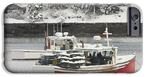 Recently Sold -  - Winter In Maine iPhone Cases - Lobster Boats After Snowstorm in Tenants Harbor Maine iPhone Case by Keith Webber Jr