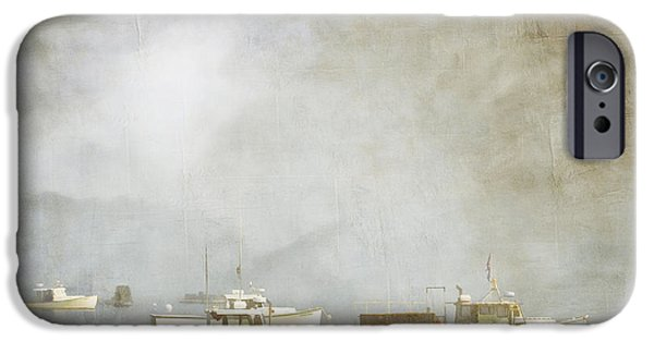 Carol Leigh iPhone Cases - Lobster Boats at Anchor Bar Harbor Maine iPhone Case by Carol Leigh