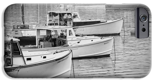 Fog Mist iPhone Cases - Lobster Boats In Bass Harbor and Bernard Maine  iPhone Case by Keith Webber Jr