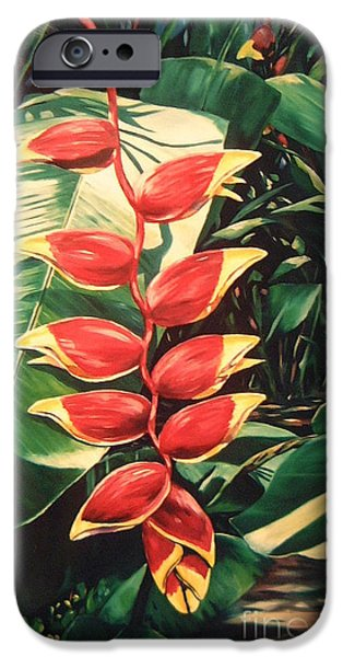 Tropical Plant iPhone Cases - Lobster Claw Heliconia iPhone Case by John Clark