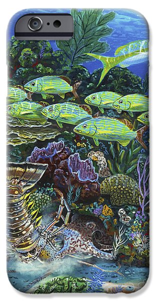 Maine iPhone Cases - Lobster Feast Re0019 iPhone Case by Carey Chen