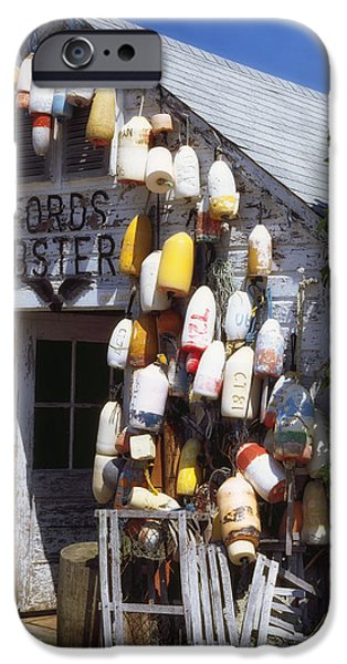 Lobster Shack iPhone Cases - Lobster Shack Buoys in Maine iPhone Case by Mountain Dreams