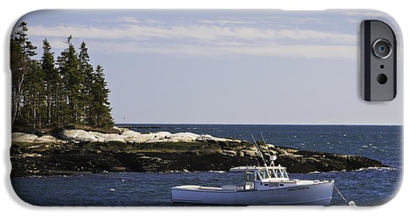 Coastal Maine iPhone Cases - Lobsterboat in Spruce Head on The Coast of Maine iPhone Case by Keith Webber Jr