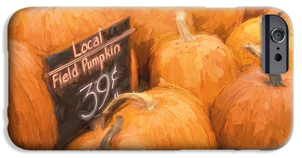 Farm Stand Photographs iPhone Cases - Local Field Pumpkins Painterly Effect iPhone Case by Carol Leigh