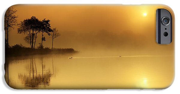 Peacefull iPhone Cases - Loch Ard morning glow iPhone Case by Grant Glendinning