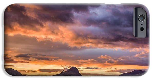 Drama iPhone Cases - Lochinver Sunrise iPhone Case by Dave Bowman