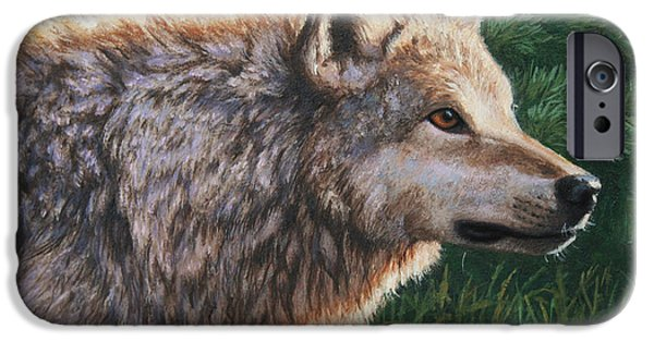Dogs iPhone Cases - Grey Wolf - Locked iPhone Case by Crista Forest
