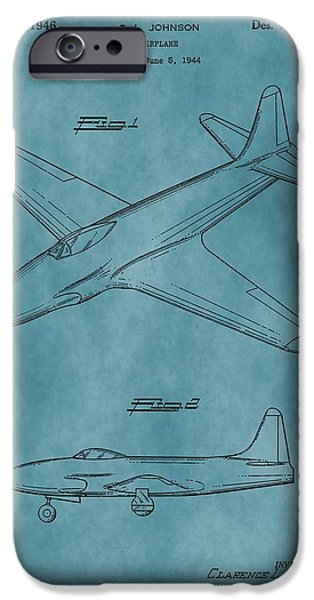 Jet Star Mixed Media iPhone Cases - Lockheed P-80 Patent Blue iPhone Case by Dan Sproul