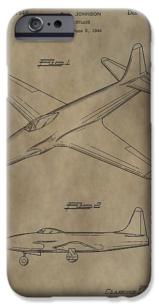 Jet Star Digital Art iPhone Cases - Lockheed P-80 Patent iPhone Case by Dan Sproul