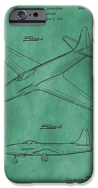 Jet Star Digital Art iPhone Cases - Lockheed P-80 Patent Green iPhone Case by Dan Sproul