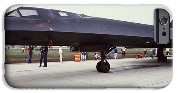 Military Airplanes iPhone Cases - Lockheed Sr-71 Blackbird On A Runway iPhone Case by Panoramic Images