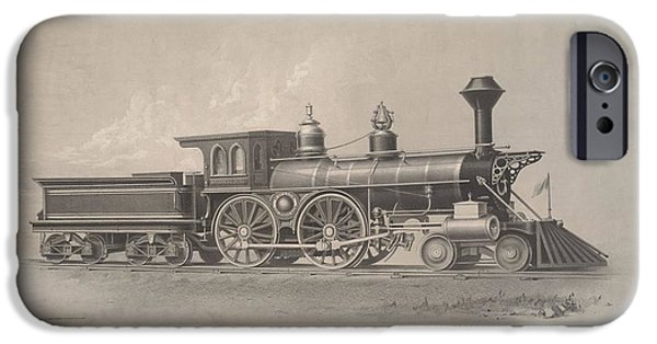 Etc. Paintings iPhone Cases - Locomotive Engines iPhone Case by MotionAge Designs