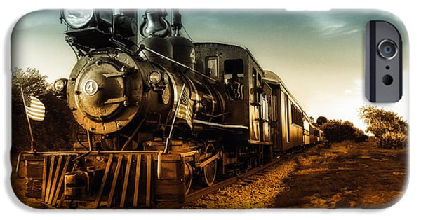 American Flag iPhone Cases - Locomotive Number 4 iPhone Case by Bob Orsillo