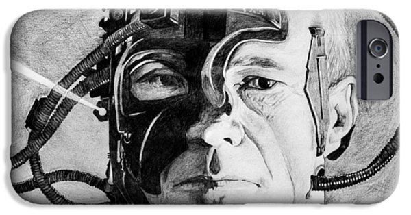 Enterprise Drawings iPhone Cases - Locutus iPhone Case by Judith Groeger