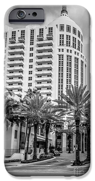 Ian Monk Photography iPhone Cases - Loews Hotel on 16th Miami Beach - Black and White iPhone Case by Ian Monk