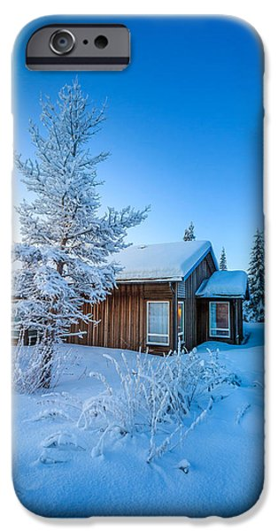 Lapland iPhone Cases - Log Cabin And Snow Covered Trees iPhone Case by Panoramic Images