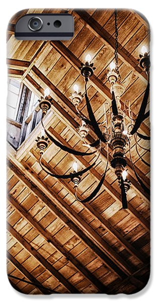 Log Cabin Chandelier  iPhone Case by Mountain Dreams