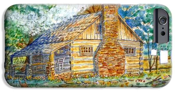 Log Cabin Mixed Media iPhone Cases - Log Cabin iPhone Case by Don Hand