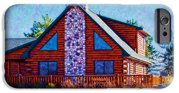 Log Cabin Digital iPhone Cases - Log Cabin Home iPhone Case by Anna Surface