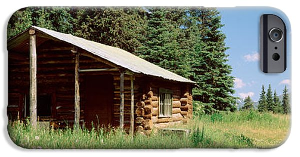 Log Cabins iPhone Cases - Log Cabin In A Field, Kenai Peninsula iPhone Case by Panoramic Images