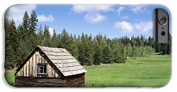 Cabin Window iPhone Cases - Log Cabin In A Field, Klamath National iPhone Case by Panoramic Images