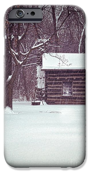Rural Snow Scenes iPhone Cases - Log Cabin in Snow iPhone Case by Jill Battaglia